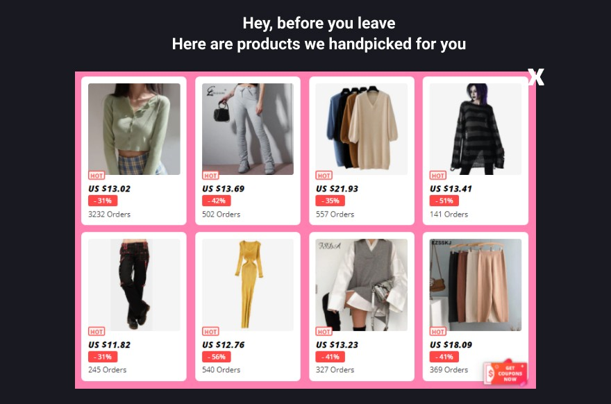 Exit-intent popup product recommendations