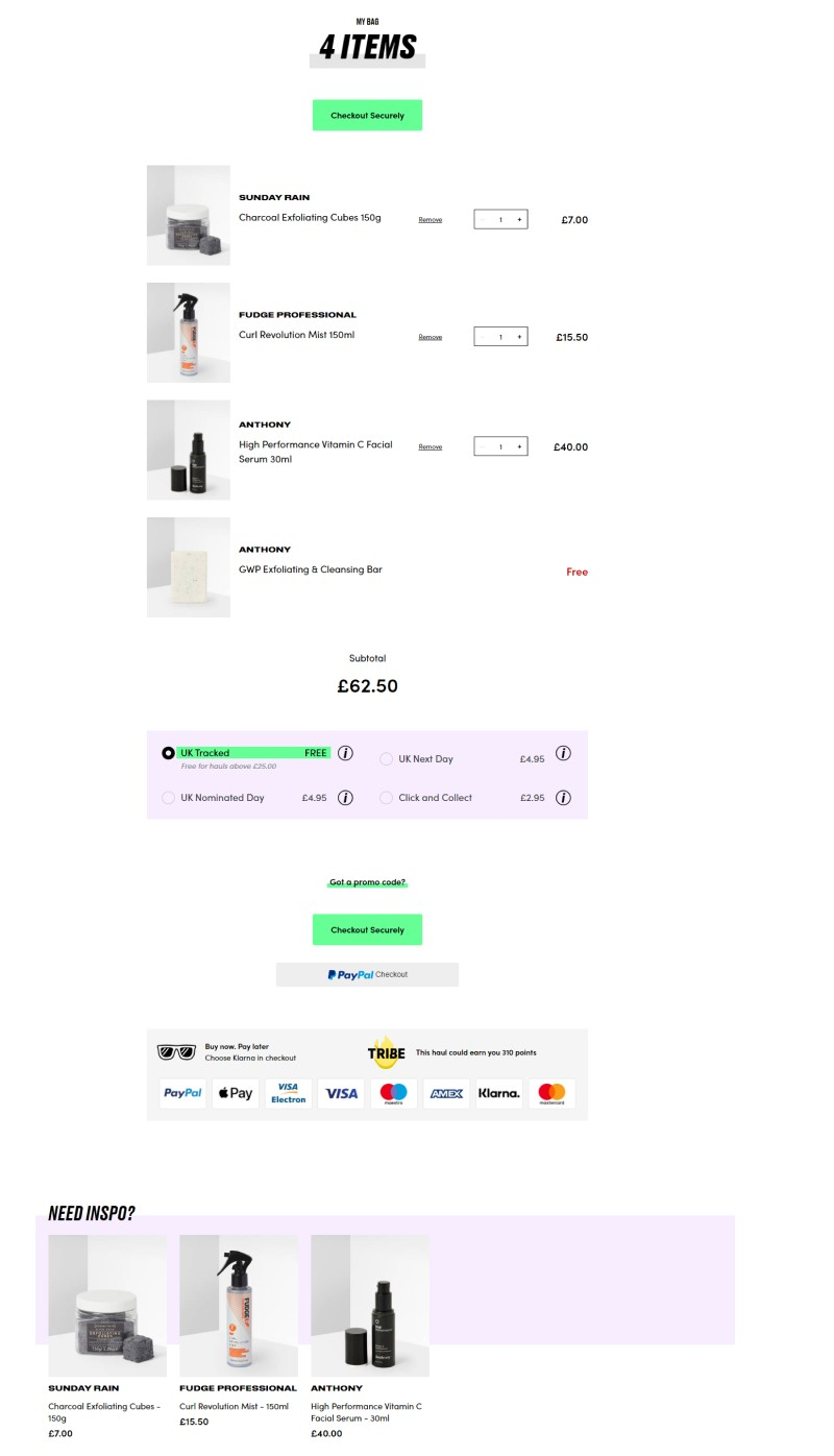 cart page recommendation
