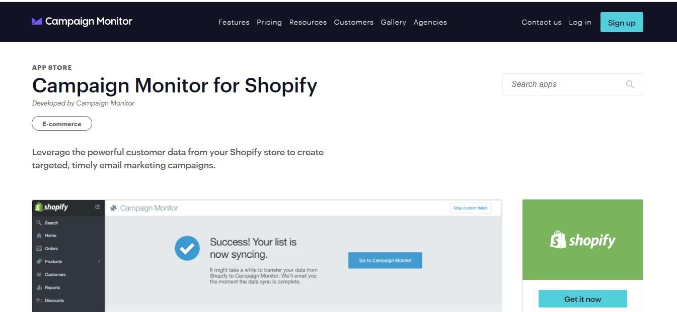 Campaign Monitor Shopify