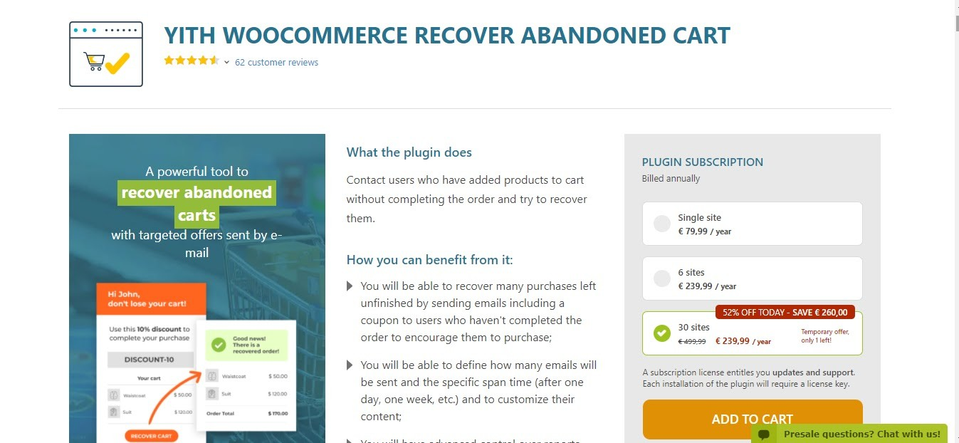 Yith WooCommerce Cart Recovery