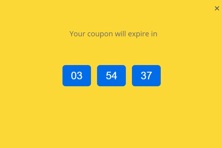 Spin to win coupon wheel countdown timer